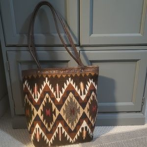 Hand made wool and leather Aztec print tote bag